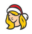 santa woman head sign vector image vector image