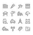 Set line icons of constructing industry vector image vector image
