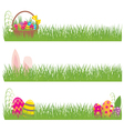 Set of Easter banners grass and Easter eggs vector image vector image
