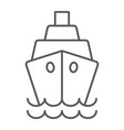 ship thin line icon cruise and sail boat sign vector image vector image