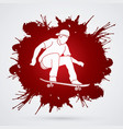 skateboarder jumping man playing skateboard vector image