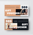 template black white gift voucher with brown vector image