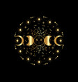 triple moon gold pagan wiccan goddess symbols vector image