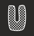 U alphabet letter with white polka dots on black vector image vector image