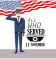 veterans military day celebration with flag vector image vector image