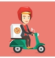 Woman delivering pizza on scooter vector image vector image