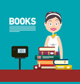 woman selling books in bookstore or in library vector image vector image