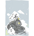 woodcut locomotive color vector image