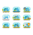 cartoon color house insurance service icons set vector image