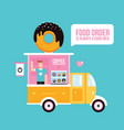 food truck cafe delicious sweet donuts fast food vector image