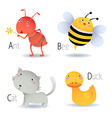Alphabet with animals from A to D vector image vector image
