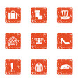 american hike icons set grunge style vector image