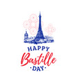 bastille day lettering on eiffel tower background vector image