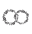 Black and white vintage Flower interlinked rings vector image vector image