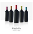 bottls wine made black matte glass isolated vector image vector image