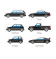 car automobile body type names flat vector image vector image