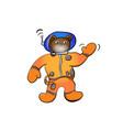 cartoon brown bear astronaut vector image