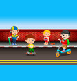childrens playing on the road vector image vector image