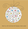 christmas card with ball vector image vector image