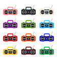 colorful cartoon boombox collection vector image vector image