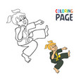 coloring page with woman martial art cartoon vector image vector image