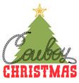 cowboy christmas card with christmas tree vector image vector image