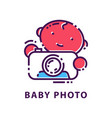 creative emblem with baby and camera in linear vector image