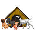 dog cage with group cartoon isolated vector image