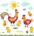 farm birds family cartoon flat rooster hen vector image
