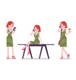 female clerk with gadgets vector image vector image