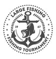 fishing tournament vintage isolated label vector image vector image