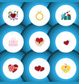 flat icon love set of wings gift emotion and vector image vector image