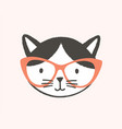 funny face or head clever cat wearing glasses vector image vector image