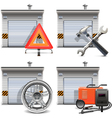 Garage with Spares and Tools vector image vector image
