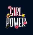 girl power slogan and patches vector image