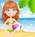 Girl with an inflatable ball on sunny beach vector image vector image