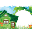 Green rural house vector image vector image