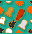 halloween cookie seamless pattern background vector image vector image