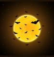 halloween flying bat moon background vector image vector image