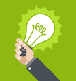 Innovation - shining lamp in hand vector image