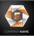 letter f logo symbol in the colorful hexagon on vector image