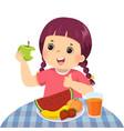 little girl eating green apple vector image