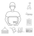 logistics service outline icons in set collection vector image