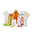 medical bottles and pills medications aspirin vector image