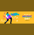 music day banner man musician playing rock guitar vector image