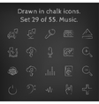 Music icon set drawn in chalk vector image