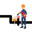 oilman character in a blue uniform extinguishing a vector image
