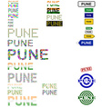 Pune text design set vector image vector image