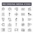 recording media line icons signs set vector image vector image