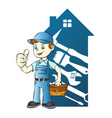 repairman in the background of the house vector image vector image